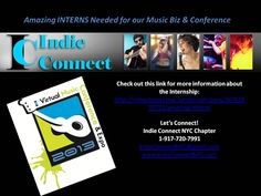 Amazing INTERNS needed for our Music Biz & Conference (NYC)  http://indieconnectnyc.tumblr.com/post/34762833721/amazing-interns  www.indieconnectnyc.com