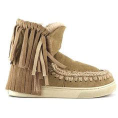 Mou Eskimo Sneaker With Fringes Camel - MOU #mou #fashion #newshoes #women #streetstyle