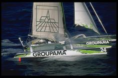 Groupama 1, the first trimaran of Groupama! The skipper is Franck Cammas