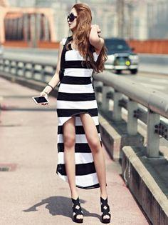 Women White And Black Stripe Fashion Retro