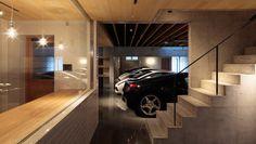 ガレージで趣味を楽しむ邸宅 | 建築家住宅のデザイン 外観&内観集|高級注文住宅 HOP House Plans Mansion, Dream House Plans, Dream Home Design, Modern House Design, Underground Garage, Modern Garage, Luxury Garage, Showroom Design, Parking Design
