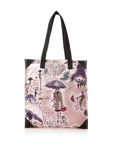 42% OFF Izak Women's I Love Paris Girl Canvas Tote, Multi