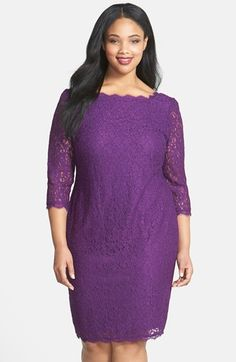 Adrianna Papell Lace Overlay Sheath Dress (Plus Size) available at #Nordstrom in Gunmetal