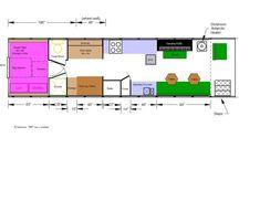 Conversion Encyclopedia - Floor Plans - School Bus Conversion Resources School Bus Camper, School Bus House, Rv Bus, Magic School Bus, School Bus Rv Conversion, Bus Remodel, Converted Bus, Bus Living, Living Room