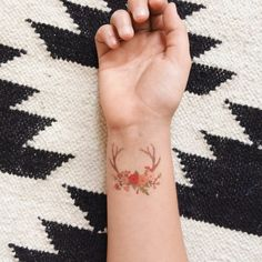 Bois et Florals temporaire tatouage - unique ou un ensemble de 3