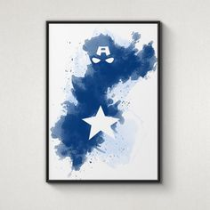 Etsy: Watercolor Print Shop Super Hero Captain America, Alternative Poster, Watercolor Painting, Archival Fine Art, Home Wall Decor, Giclee Print, $15.14 AUD