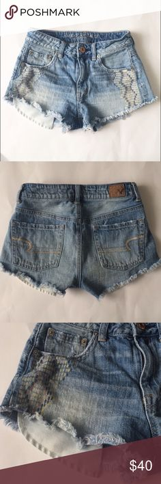 "American Eagle Hi-rise Festival cutoff Jean Shorts Adorable hi-rise festival vintage distressed Jean shorts with frayed hem. Rise 9.25"". Waist 13"". Inseam 2.25"". 100% cotton. Zipper and button closure. Front pockets show from under shorts. Cool design painted on front. American Eagle Outfitters Shorts Jean Shorts"