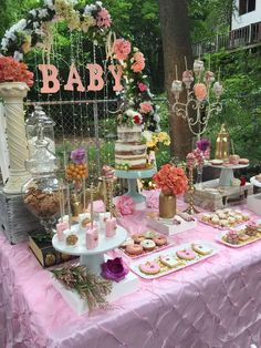 Incredible dessert table at a chic vintage baby shower! See more party planning ideas at CatchMyParty.com!