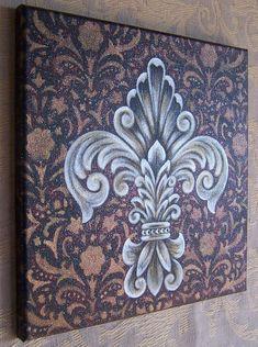 Fluer de Lis painting art original handmade canvas от GlendaOkiev