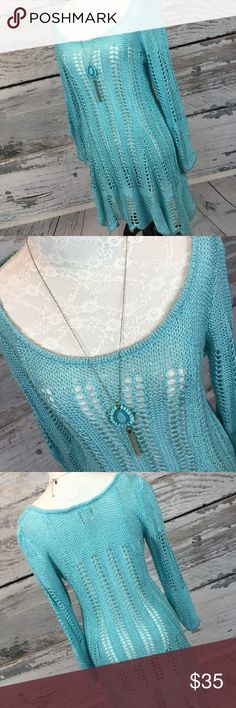 "🔥SALE🔥Soft Surroundings Tiffany Blue Tunic Sz M GORGEOUS!!!!!! One of my absolute FAVORITES from the Soft Surroundings Collection!!! This is an insanely soft open weave knit Tunic ... perfect to layer or throw over a swimsuit!! So. Many. Great. Options. This is a GEM!!! In beautiful condition from a smoke free home!   Armpit to armpit: 16"" unstretched Armpit to sleeve cuff: 13"" Shoulder to bottom: 33"" Across bottom: 30""  Have a MERRY Christmas ❤️ Love 3.16 Soft Surroundings Tops Tunics"