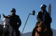 WASHINGTON, DC - JANUARY 19: Mounted police keep watch as a cherry picker is tested in front of the Washington Monument on the National Mall as Washington prepares for President Barack Obama's second inauguration on January 19, 2013 in Washington, DC. The U.S. capital is preparing for the second inauguration of U.S. President Barack Obama, which will take place on January 21. (Photo by Mario Tama/Getty Images) Presidential Inauguration, Keep Watching, National Mall, January 21, Michelle Obama, Barack Obama, Washington Dc, Presidents, Police