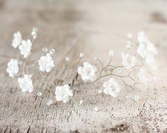 Corona de la boda de la flor, blanca corona de flores, flores de la tiara, Celada corona de flores, boda tiara, Accesorios para el cabello