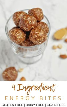 Easy to make, 4 ingredient energy bites that are vegan, gluten free, and refined sugar free. The perfect afternoon pick-me-up or on-the-go snack! Healthy Superbowl Snacks, Healthy Vegan Snacks, Easy Snacks, Healthy Baking, Healthy Recipes, Sugar Free Desserts, Sugar Free Recipes, No Bake Energy Bites, Energy Balls