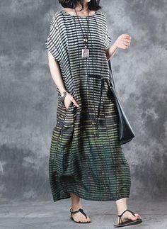 Coton Lin Bloc de couleur/Charte des couleurs Mancherons Maxi Décontracté Robes