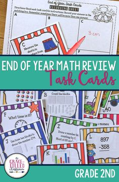 Use these End of Year Math task cards with your second graders to review the math standards from the year! Math task cards for 2nd grade| End of Year Review 2nd Grade| End of Year 2nd Grade