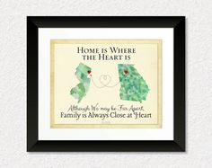 Long Distance Present for Family, Personalized Gift for Mom and Dad, Moving Away Gift, Family Quote, Georgia Map, New Jersey Map #NewJersey #Georgia #FamilyGift #LongDistance
