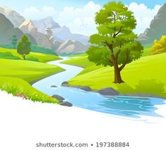 Find Illustration River Flowing Through Mountains Hills stock images in HD and millions of other royalty-free stock photos, illustrations and vectors in the Shutterstock collection. Thousands of new, high-quality pictures added every day. Background Clipart, Cartoon Background, Animation Background, Landscape Illustration, Watercolor Landscape, Landscape Paintings, Casual Art, Digital Painting Tutorials, Take Better Photos