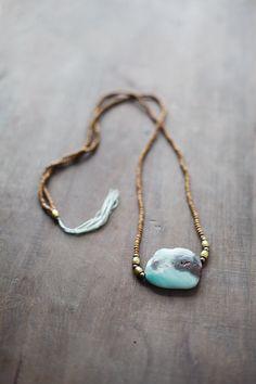 Mixed Media Boho Necklace /  Blue Aqua  Brown by BlueBirdLab
