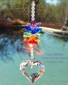 Crystal Heart Sun catcher #hearts #love #light #crystals
