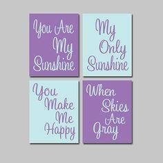 Purple Aqua Blue - You Are My Sunshine  Set of 4 Wall Art Decor Prints Poster Nursery Child Kid Room Typography