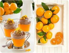Tangerine jelly with chocolate mousse
