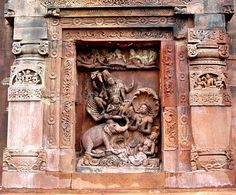 Vishnu riding on Garuda rescues Gajendra, the King of the elephants from the Naga cobra. Northern Wall of the temple.
