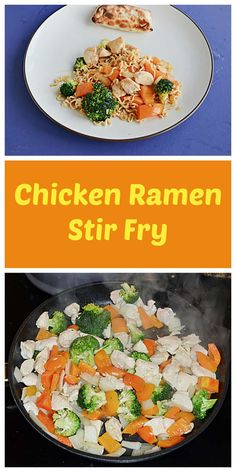 Need a new twist on stir fry? Add Ramen noodles to chicken and vegetables to make an easy and tasty stir fry! #chicken #vegetables #easyrecipes   Chicken Recipes   Stir Fry Recipes   Easy Recipes   Quick Recipes   Chicken Recipes   Asian Recipes Quick Chicken Recipes, Quick Recipes, Asian Recipes, Healthy Recipes, Amazing Recipes, Turkey Recipes, Ethnic Recipes, Chicken With Olives, Chicken And Vegetables