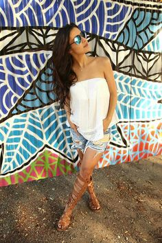 The HONEYBEE // Jens Pirate Booty Top, Rag and Bone Shorts, Sam Edelman Gladiator Sandals, and Wildfox Couture Sunglasses.. #bumpstyle