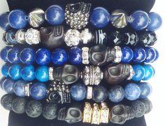 Cobalt Blue Riverstone Beaded Bracelet with Jet by rockstarsz, $24.99