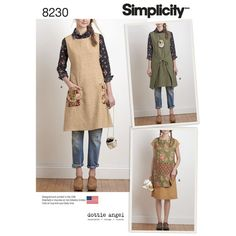 Simplicity Pattern 8230 Misses' Dottie Angel Reversible Apron Dress and Tabard