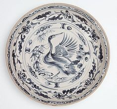 Large dish with crane, pine and bamboo medallion Viet Nam, Le dynasty, 15th century Media category Stoneware with underglaze blue decoration, 8.0 x 38.0 cm Art Gallery of New South Wales, Sydney, 7.1991