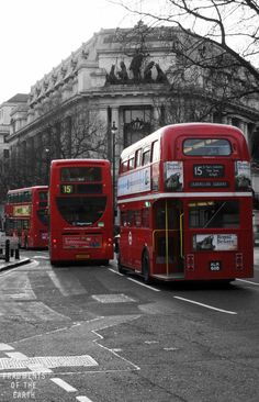 In 1907, the London General Omnibus Company painted its fleet of buses red to stand out from the competition.  Over a century later, the red double decker bus is still a mainstay of London roadways. http://www.fragmentsoftheearth.com