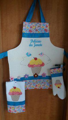 kit avental+pano de prato+luva