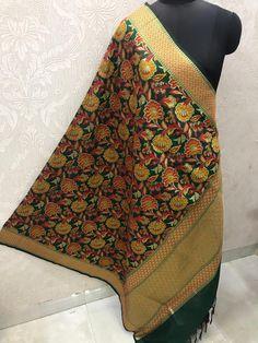 "Price:- Rs 810 + SHIP FREE MULTI COLOR BANARASI SILK DUPATTA FUSION 2021 Dupatta Fabric details: Pure banarasi Patola silk jacquard dupatta multi-color wiving dupatta with Resham handmade tread less cute 2.50 Full (wd 44"") #gfseries Silk Dupatta, 100 Pure, Shawls, Ship, Pure Products, Detail, Stylish, Cute, Fabric"