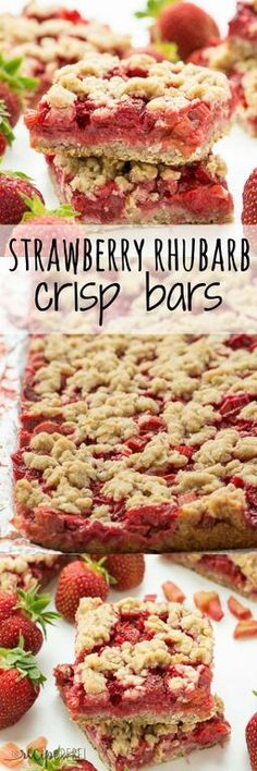 An oatmeal cookie base topped with strawberries and rhubarb and topped with more oatmeal cookie topping -- your favorite summer dessert is now a packable treat or back to school snack!