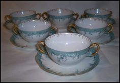 Haviland France Set of Six (6) Double Handled Cream Soup Bowls and Liners    Offered by Ruby Lane Shop Yesterdays