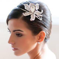 Bold crystal encrusted lily side tiara | Heirloom of Extravagance Side Tiara | Glitzy Secrets