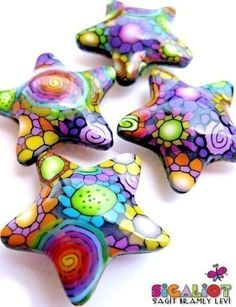 Disco Stars  4 Fluffy Polymer Clay Stars 32mm by Sigaliot on Etsy, $19.00
