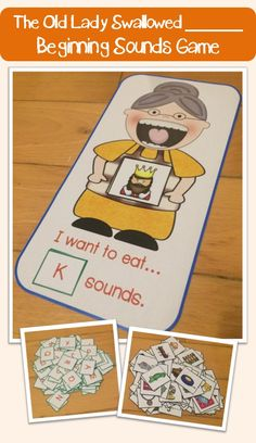 Old lady who swallowed a Sound (Beginning Sounds Sorting Game) Kindergarten Language Arts, Kindergarten Centers, Kindergarten Reading, Teaching Reading, Beginning Sounds Kindergarten, Kindergarten Phonics, Phonics Games, Jolly Phonics, Preschool Literacy