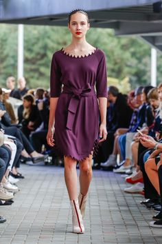 IMRECZEOVA SS18 purple dress with zig-zag neck and hem 60 Degrees, Purple Dress, Zig Zag, Runway, Dresses With Sleeves, Shirt Dress, Long Sleeve, Shirts, Fashion