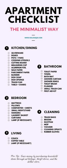 Minimalist Apartment Checklist | Check out this awesome, minimal infographic…