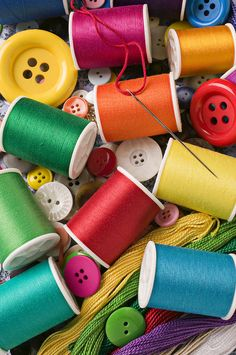 Spools Of Thread With Buttons Photograph - Spools Of Thread With Buttons Fine Art Print