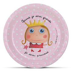 """Assiettes en carton """"Quand je serai grande, je serai Princesse"""" - Le Coin des Créateurs #isabellekessedjian #lecoindescreateurs #feteenfant #decoanniversaire #guirlande #fanions"""