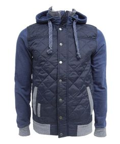 Loving this Navy Quilted Knit-Sleeve Jacket on #zulily! #zulilyfinds