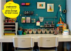 Dollar Store Organizing Ideas and Projects for the Entire Home Basement organization: painted pegboard. love the colorBasement organization: painted pegboard. love the color Kids Study, Art For Kids, Study Space, Desk Space, Kid Art, Small Study, Study Desk, Kids Art Area, Kids Art Space