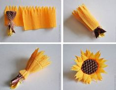 Best 12 Flowers and chocolates are two common choices for gifts. Then why not combine these two awesome things and make Paper Sunflowers, Tissue Paper Flowers, Paper Flower Backdrop, Flower Crafts, Diy Flowers, Chocolate Flowers Bouquet, Sunflower Party, Personalized Valentine's Day Gifts, Diy And Crafts