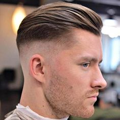 High Fade with Textured Slick Back and Stubble