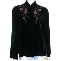 Carole Little Black Velvet Floral Beaded Long Sleeve Button Down Shirt SZ 6 Top #CaroleLittle #ButtonDownShirt #EveningOccasionCocktails