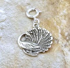 Sterling Silver Peacock Charm on 8mm Spring by GoldChestJewelry