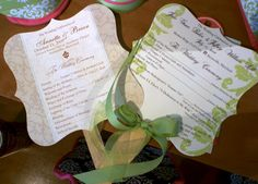 Wedding Programs; must for our outdoor wedding and reception